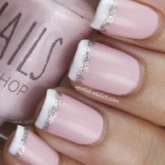 Wedding Bubbles Tubes Idea | Frosted pink and white French manicure with silver glitter accent