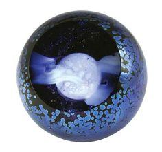 Hand Blown Glass Paperweight - Full Moon - $105 - Part of Glass Eye Studio Celestial series