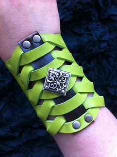 Twisted Glad - Gladiator Style Lime Green Mirabella Lamb Leather Bracer Cuff with Silver Victorian Filigree Baroque Concho.