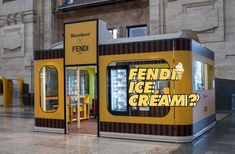 Fendi branded popsicles have invaded Milan central station : Luxurylaunches Fendi, Display Design, Booth Design, Tienda Pop-up, Container Van, Window Signs, Scale Design, Central Station, Pop Up Stores