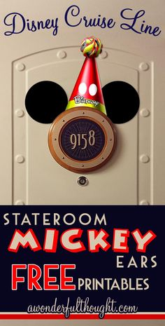 Decorate your stateroom door on Disney Cruise Line with this cute Mickey Birthday Hat Stateroom Mickey Ears! Free to print and easy to make into a magnet for a door decoration. Get more ears at awonderfulthought.com