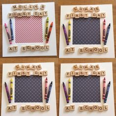 How about these lovely box frames for your first day at school pictures already . How about these lovely box frames for your first day at school pictures already prepping some order Scrabble Letter Crafts, Scrabble Tile Crafts, Scrabble Frame, Scrabble Art, Diy Father's Day Crafts, Fathers Day Crafts, Handmade Crafts, Christmas Fair Ideas, Christmas Box Frames