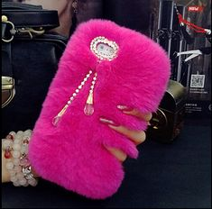 Pink Rabbit Furry Case Winter Covers Fur Rhinestone Bling Plush Furry Skin Cases for iPhone 6 6s Plus 5s