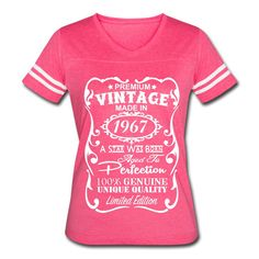 "50th Birthday Gift for Woman - **VELVETY PRINT** *Vintage Colors* Memorable ""Made in 1967"" design V-neck Shirt - Birthday Gift for Her"