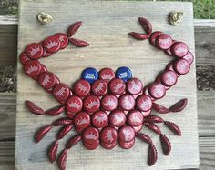 Budweiser Bottle Cap Crab Wall Hanging