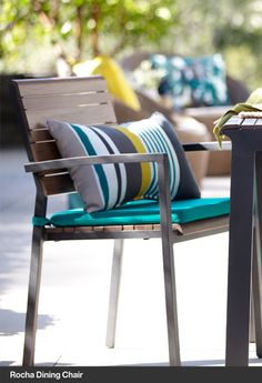 Rocha Dining Chair with Sunbrella® Harbor Blue Cushion. Love this blue color