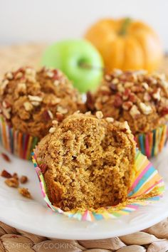 The Comfort of Cooking » Super Soft 100% Whole Wheat Apple-Pumpkin Muffins Used coconut oil and added a scoop of chia seeds and some mini choco chips.
