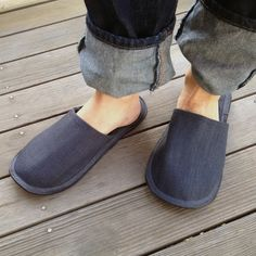 shop fog linen — Linen Slippers: Blue Grey