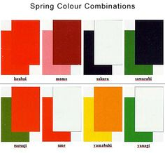This page lists all the traditional color combinations, by season, allowed in kimono. Another good paper on it: http://www.yamakawadojo.com/Japanese%20Traditional%20Colors.pdf