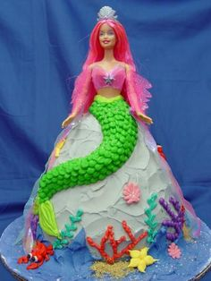 Barbie mermaid birthday cake for girl  this is the cake emma wants at the min
