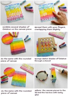 Handmade mini canvases with Gelatos - Faber-Castell Design Memory Craft