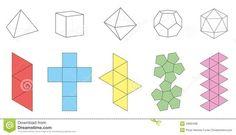 Platonic Solids Paper Model Template Stock Vector - Image: 43681301