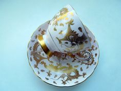 Tuscan Tea Cup Saucer Pink Gold Dragons England by Passion4Europe
