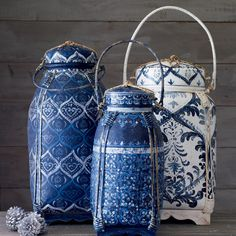 "Set Of 3 Blue & White Painted Thai Basket Boxes. Handmade And Hand-Painted Decorative Bamboo Storage From Thailand. (5"",7"",8"" Inches Width)"