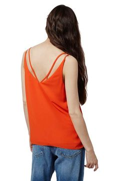 Free shipping and returns on Topshop Double Strap V-Back Camisole (Regular & Petite) at Nordstrom.com. An extra set of straps traces the V-back of a casual, lightweight camisole cut for a draped, flattering fit.