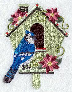 Christmas Birdhouse - Blue Jay