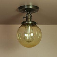 Semiflush Lighting  6 inch Amber Glass Shade  by BlueMoonLights, $110.00
