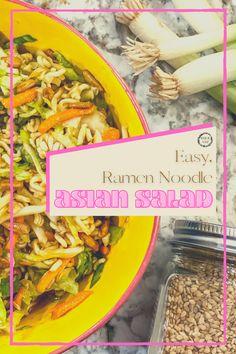Asian Ramen Slaw Salad Asian Slaw With Ramen Noodles, Pasta Dinners, Meals, Ramen Cabbage Salad, Asian Slaw Salad, Side Salad, Asian Recipes, Side Dishes, Main Dishes