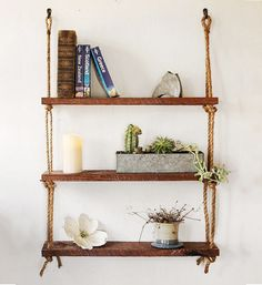 Hey, I found this really awesome Etsy listing at https://www.etsy.com/listing/181010689/rope-shelves-cherry-wood-rough-cut
