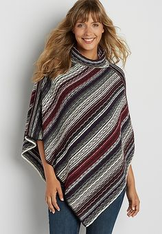 cowl neck poncho with stripes | maurices