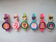 Disney Princess Inspired Sparkle Party Favor, Goodie Bag Clip, Magnet- Choice of Princesses Cinderella Aurora Ariel Belle Rapunzel Tiana