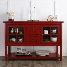 Walker Edison Furniture Company 52 in. Buffet Wood Console Table TV Stand in Antique Red at The Home Depot - Mobile Bar Furniture, Furniture Deals, Living Room Furniture, Online Furniture, Antique Furniture, Furniture Design, Furniture Outlet, Luxury Furniture, Red Tv Stand