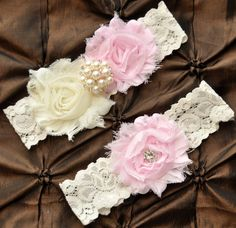 Wedding Garter, Bridal Garter Set - Ivory Lace Garter, Keepsake Garter, Toss Garter, Shabby Chiffon Rosette Ivory Light Pink Wedding Garter. $22.00, via Etsy.