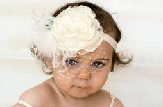 Ivory Flower Headband Photo Prop Baby by LittleLadyAccessory