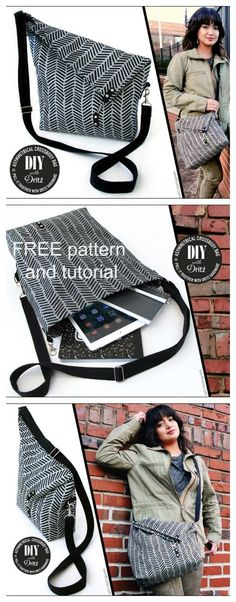 Here is a FREE pdf pattern for an Asymmetrical Crossbody Bag. Asymmetrical means having two sides or halves that are not the same. This very unique looking bag has some lovely features.