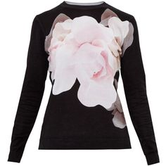 Ted Baker Asteer Porcelain Rose Jumper, Black (455 SAR) ❤ liked on Polyvore featuring tops, sweaters, floral sweater, flower print tops, ted baker sweater, print sweater and ted baker