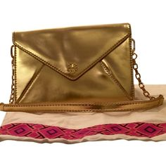 abc0e6d9e13f Pre-owned Tory Burch Viva Large Envelope Chain With Dustbag Gold... (