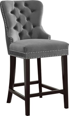 Dine in modern luxury by offering the Meridian Furniture Inc Nikki 26 in. Upholstered Counter Stool with Nailhead Trim - Set of 2 . For an updated twist. Pink Bar Stools, 26 Bar Stools, Kitchen Stools, Bar Chairs, Counter Stools, Bar Tables, Office Chairs, Room Chairs, Velvet Stool
