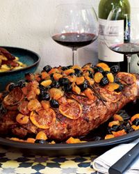 Spiced Leg of Lamb with Olives, Apricots and Lemons - Recipes for Leg of Lamb from Food & Wine