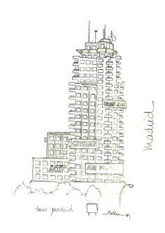 Torre Madrid en los años 80 vista desde la Gran Vía, Madrid. Diagram, Words, Nativity Scenes, Sketches, Drawings, Horse