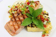 Grill salmon with Pico de Pepper Salsa