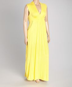 Look what I found on #zulily! Yellow Sleeveless Maxi Dress - Plus by GLAM #zulilyfinds
