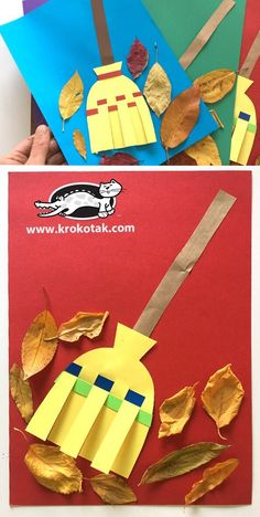 Krokotak to sweep the leaves plastic bootle tooth craft crafts and worksheets for preschool toddler and kindergarten Fall Arts And Crafts, Winter Crafts For Kids, Halloween Crafts For Kids, Autumn Crafts, Thanksgiving Crafts, Art For Kids, Preschool Crafts, Fun Crafts, Paper Crafts