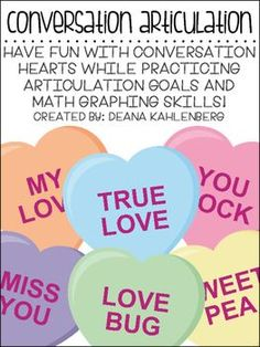 Have fun with conversation hearts while practice articulation skills and math graphing skills! This pack was created for speech-language pathologists to make with their students who are working on articulation skills. All phonemes are targeted in the initial position of words.
