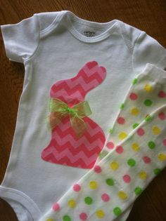 Easter Bunny Pink Chevron Outfit and Baby Leg Warmer SET for Baby Girl - Light green, yellow, pink. $23.99, via Etsy.
