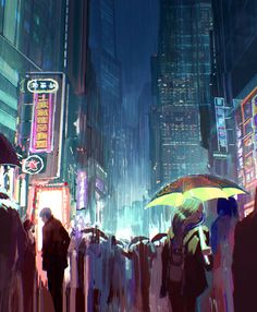 Umbrella Neons, Julien Gauthier on ArtStation at https://www.artstation.com/artwork/umbrella-neons