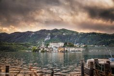 San Giulio Island on Lake Orta, Italy | Lake Orta, Italy | #stockphotos #gettyimages #print #travel |