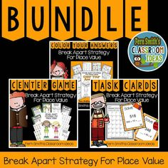 Break Apart Strategy for Place Value Bundle, Task Cards, Center Games, Printables, Color Your Answers and Answer Keys Included! 5th Grade Teachers, Third Grade Math, Fourth Grade, Reading Centers, Math Centers, Place Value Activities, School Places, Printable Worksheets, Number Worksheets