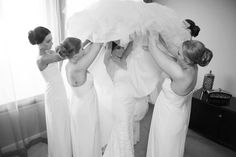 Sharna and her bridesmaids assembling her two piece custom made Ella Moda gown