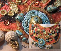India   Collar tapiz con turquesas, rocalla y latón. Recicla…   Flickr - Photo Sharing!