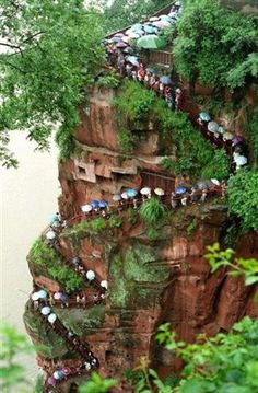 Steps up to see the Statue of Buddha. Leshan, China.