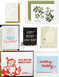 Seasonal Stationery: 2013 Holiday Cards, Part 2 | 7. Thimblepress; 8. Rifle Paper Co.; 9. Snow & Graham; 10. Happy Cactus; 11. Power & Light Press; 12. Ladyfingers Letterpress; 13. The Social Type | Click through for full links and resources!