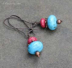 Aqua Blue and Rosey Coral Earrings on Antique by DesignsbyCher, $18.00