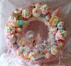 The Cupcake Fairy Wreath by treasured2 on Etsy, $350.00