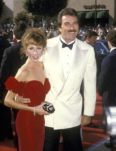 Tom Selleck and Jillie Mack during Annual Primetime Emmy Awards at Pasadena Civic Auditorium in Pasadena, California, United States. Hollywood Couples, Celebrity Couples, Celebrity Pictures, Celebrity Style, Tom Selleck, Tv Actors, Actors & Actresses, Jesse Stone, Toms