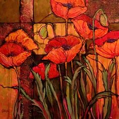 abstract poppy paintings | Seven Poppies, 10105, textured floral acrylic © Carol Nelson Fine Art